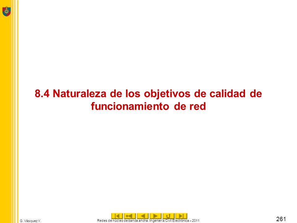 8.4 Naturaleza de los objetivos de calidad de funcionamiento de red