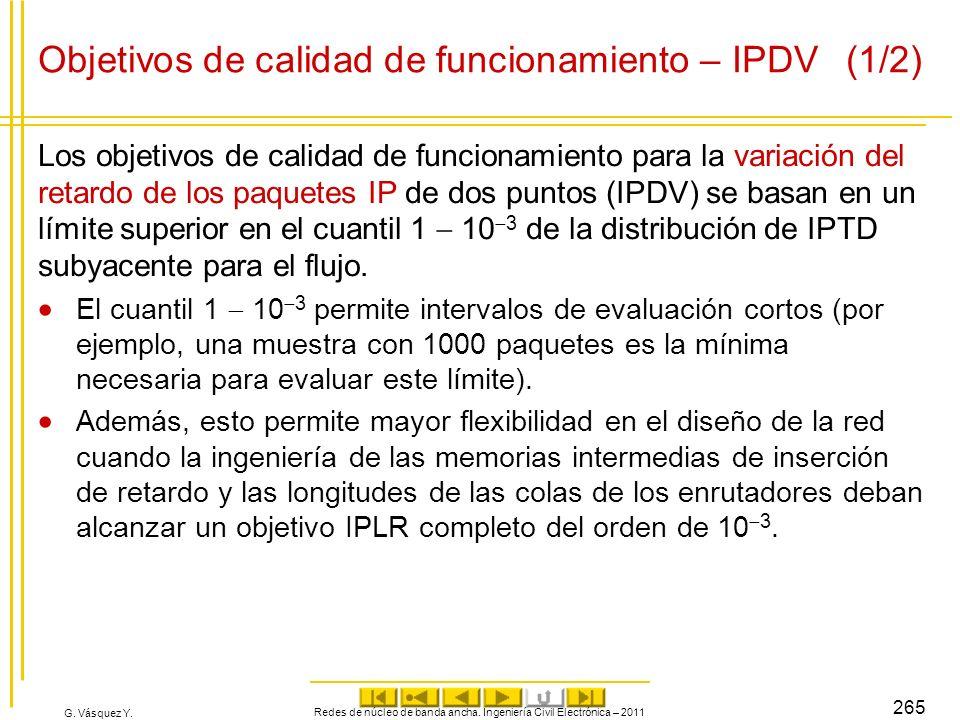 Objetivos de calidad de funcionamiento – IPDV (1/2)
