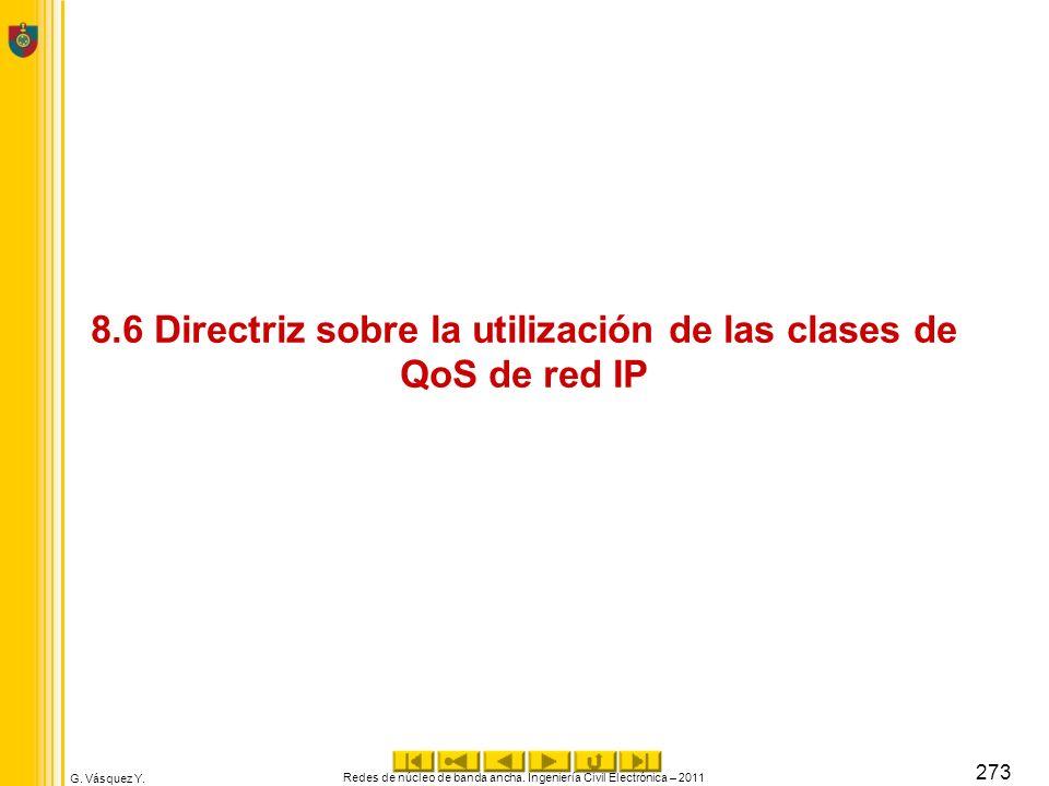 8.6 Directriz sobre la utilización de las clases de QoS de red IP