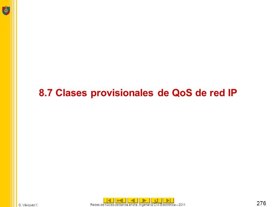 8.7 Clases provisionales de QoS de red IP