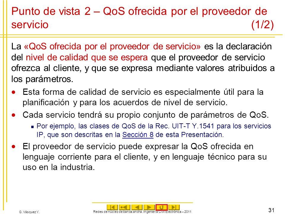 Punto de vista 2 – QoS ofrecida por el proveedor de servicio (1/2)