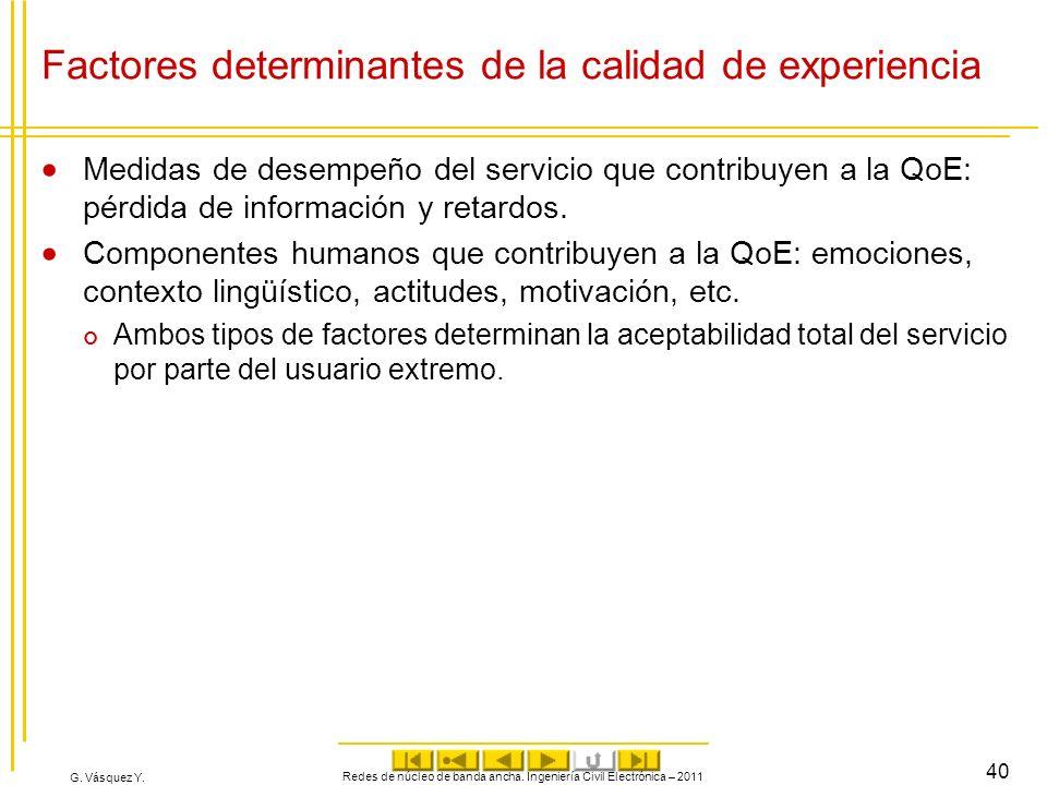 Factores determinantes de la calidad de experiencia