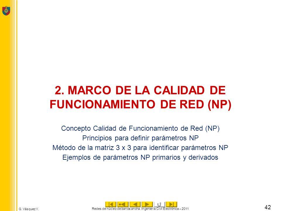 2. MARCO DE LA CALIDAD DE FUNCIONAMIENTO DE RED (NP)