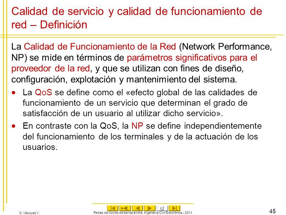 Calidad de servicio y calidad de funcionamiento de red – Definición