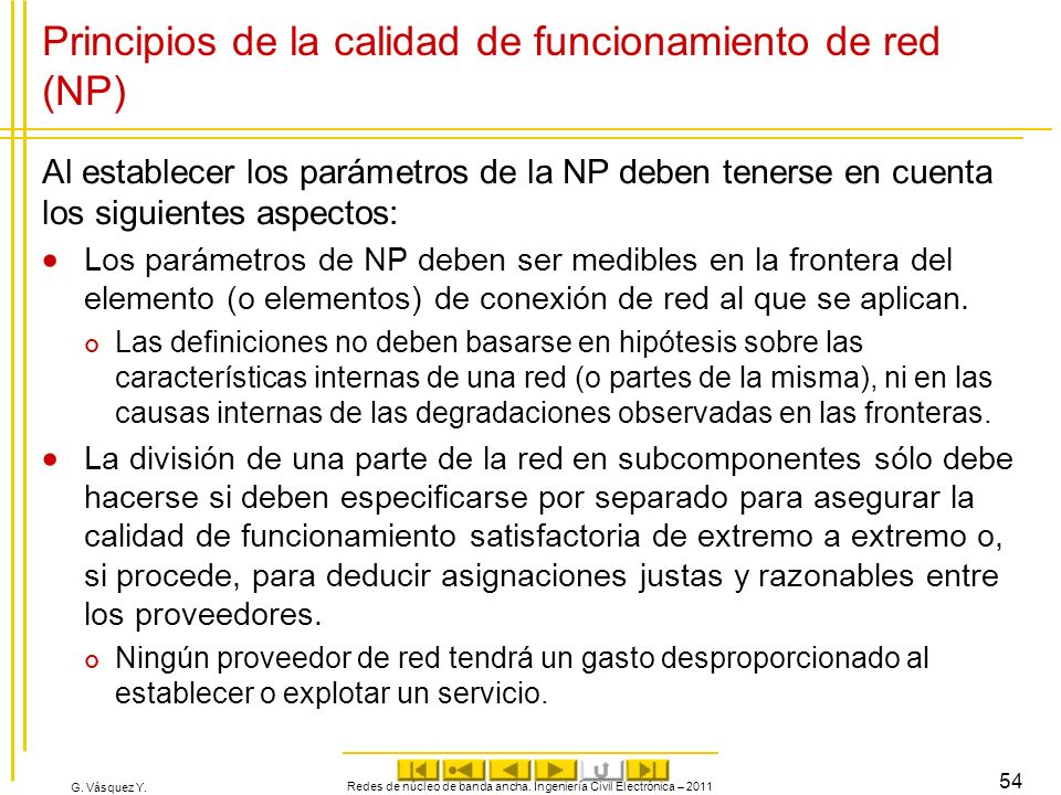 Principios de la calidad de funcionamiento de red (NP)