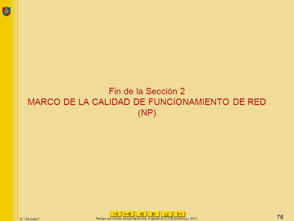 Fin de la Sección 2 MARCO DE LA CALIDAD DE FUNCIONAMIENTO DE RED (NP)