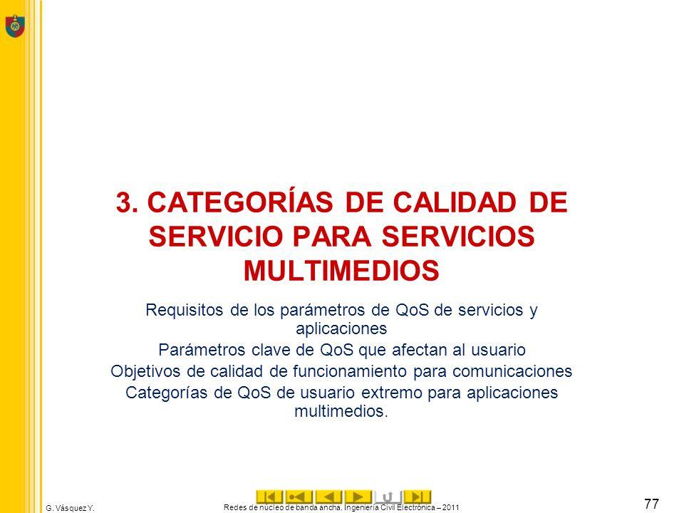 3. CATEGORÍAS DE CALIDAD DE SERVICIO PARA SERVICIOS MULTIMEDIOS