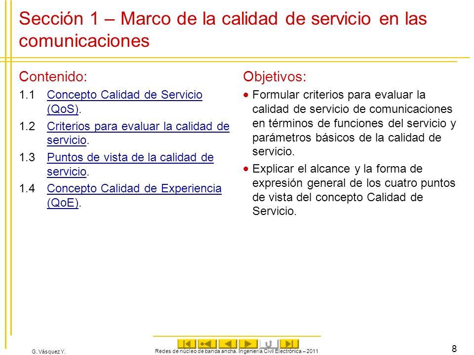 Sección 1 – Marco de la calidad de servicio en las comunicaciones