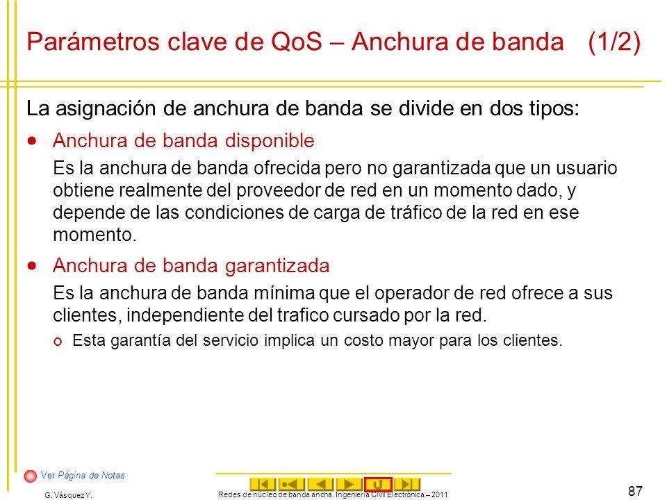 Parámetros clave de QoS – Anchura de banda (1/2)