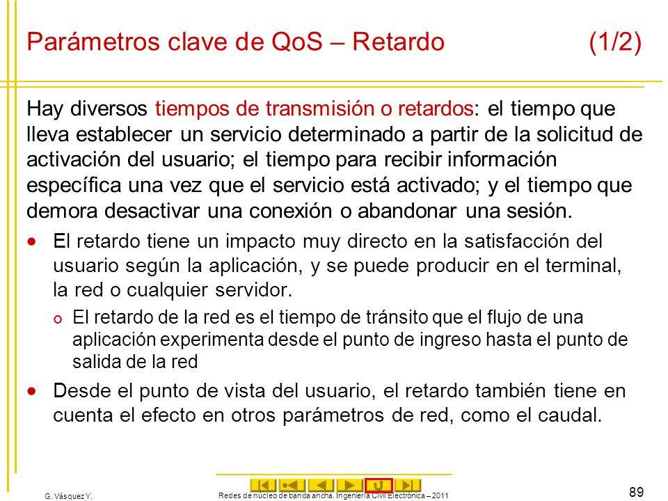 Parámetros clave de QoS – Retardo (1/2)