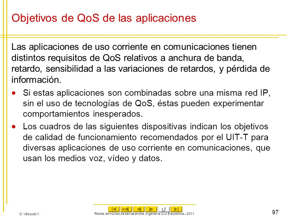 Objetivos de QoS de las aplicaciones