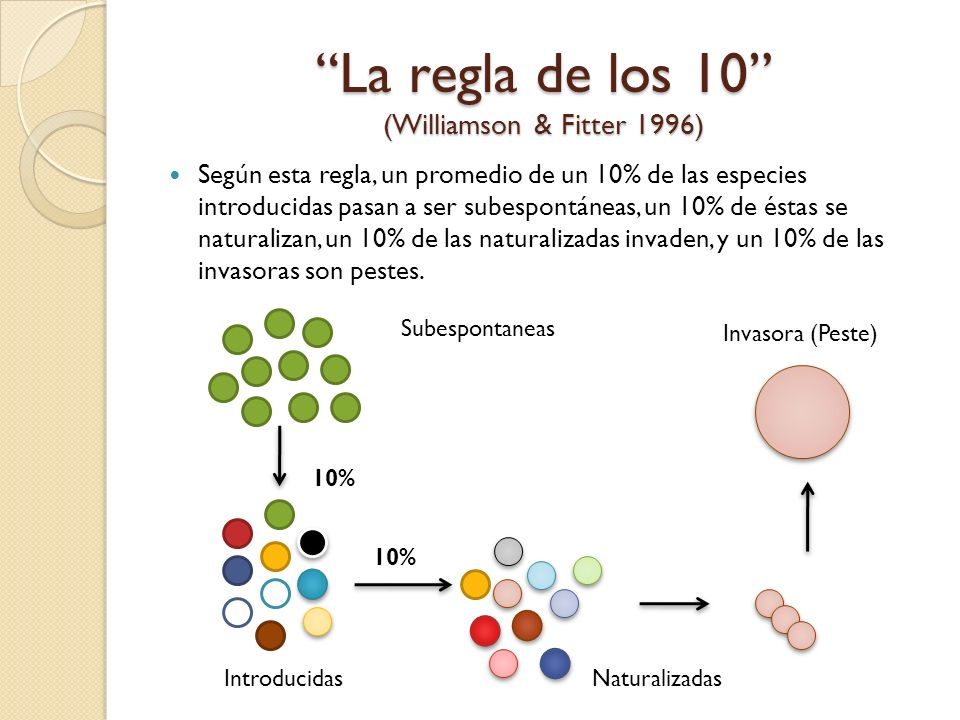 La regla de los 10 (Williamson & Fitter 1996)