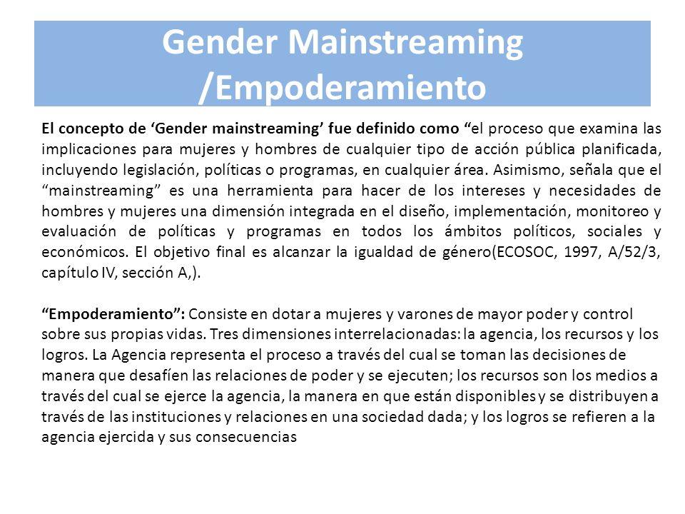 Gender Mainstreaming /Empoderamiento