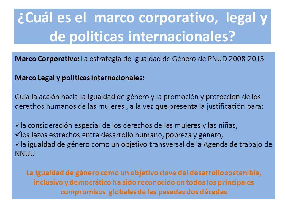 ¿Cuál es el marco corporativo, legal y de politicas internacionales