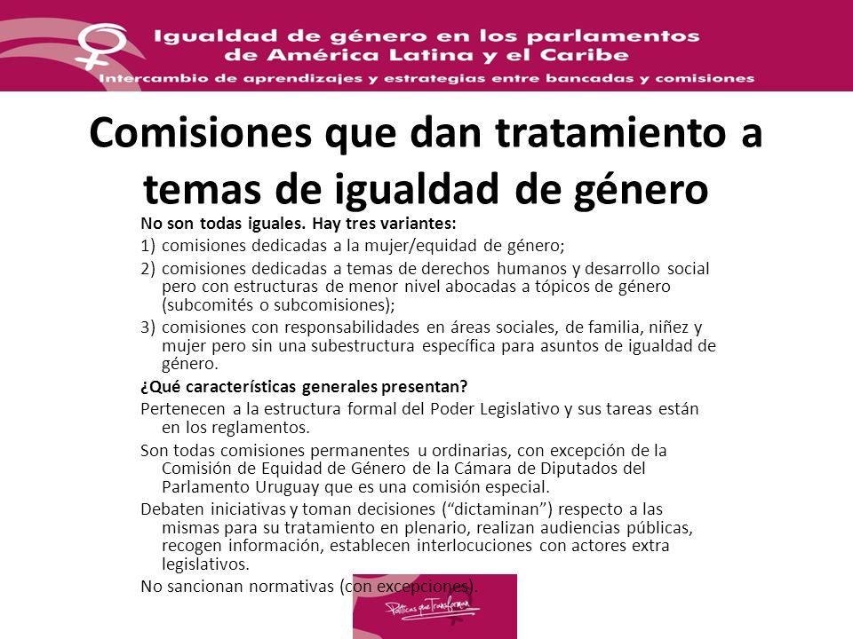 Comisiones que dan tratamiento a temas de igualdad de género