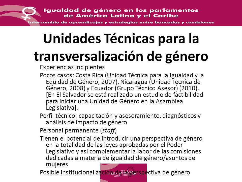 Unidades Técnicas para la transversalización de género