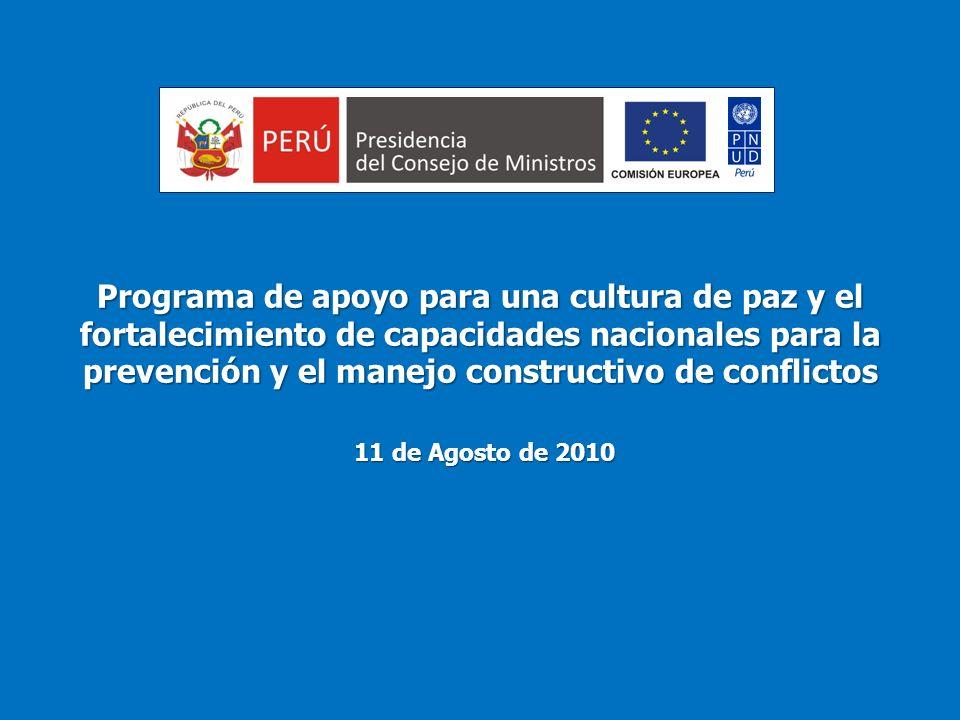 Programa de apoyo para una cultura de paz y el fortalecimiento de capacidades nacionales para la prevención y el manejo constructivo de conflictos