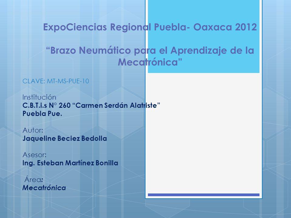 ExpoCiencias Regional Puebla- Oaxaca 2012 Brazo Neumático para el Aprendizaje de la Mecatrónica