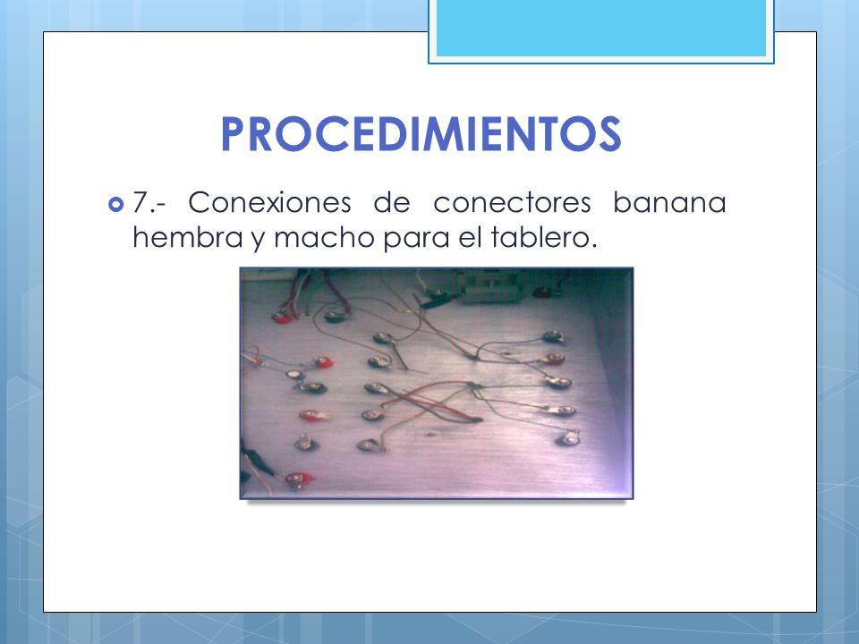 PROCEDIMIENTOS 7.- Conexiones de conectores banana hembra y macho para el tablero.