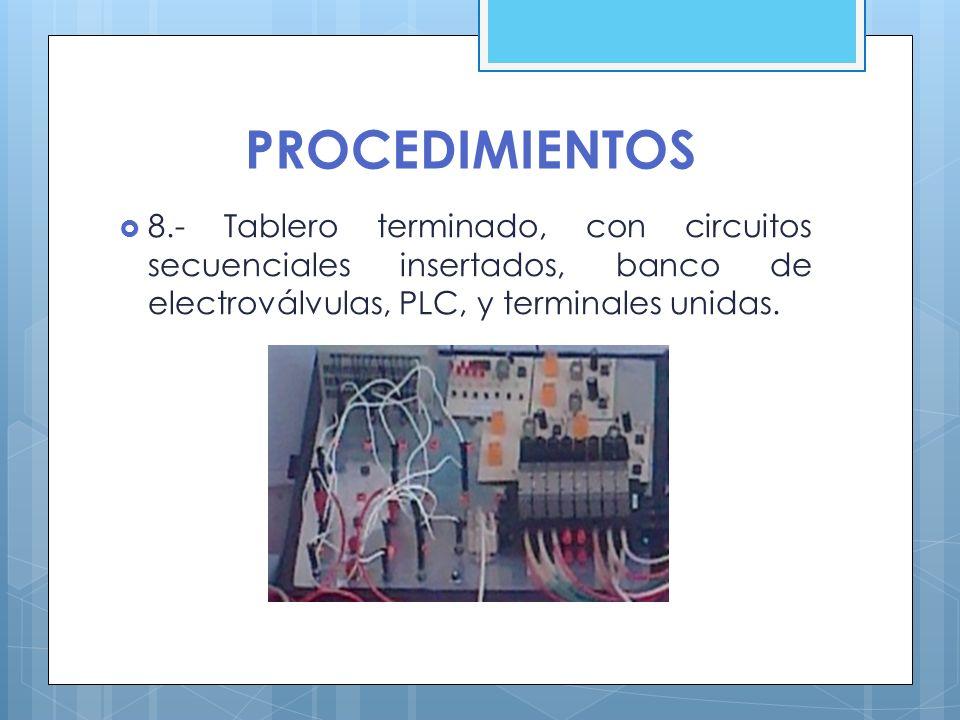 PROCEDIMIENTOS 8.- Tablero terminado, con circuitos secuenciales insertados, banco de electroválvulas, PLC, y terminales unidas.