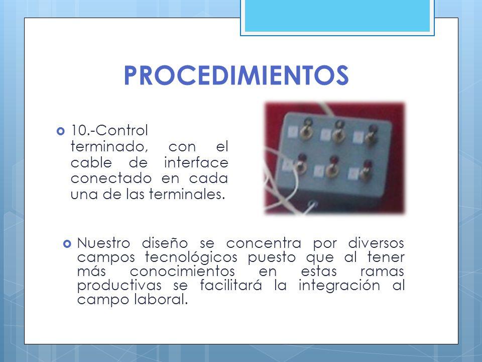PROCEDIMIENTOS 10.-Control terminado, con el cable de interface conectado en cada una de las terminales.