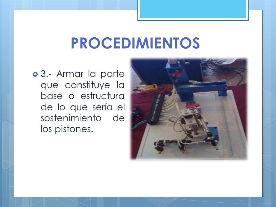 PROCEDIMIENTOS 3.- Armar la parte que constituye la base o estructura de lo que sería el sostenimiento de los pistones.