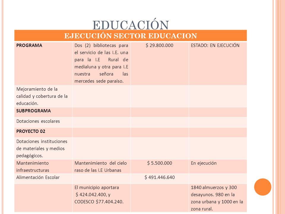 EJECUCIÓN SECTOR EDUCACION