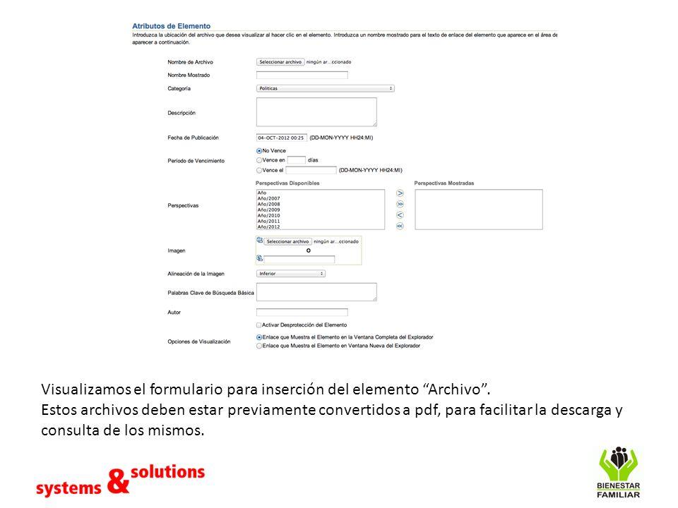 Visualizamos el formulario para inserción del elemento Archivo .