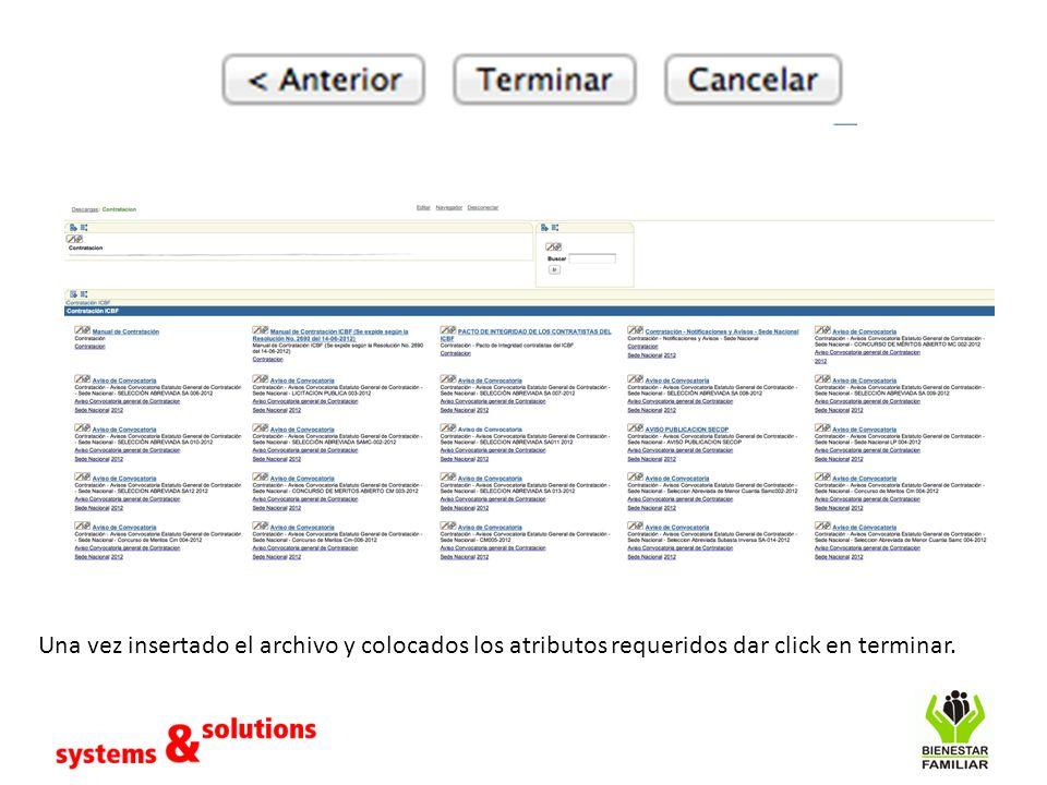Una vez insertado el archivo y colocados los atributos requeridos dar click en terminar.