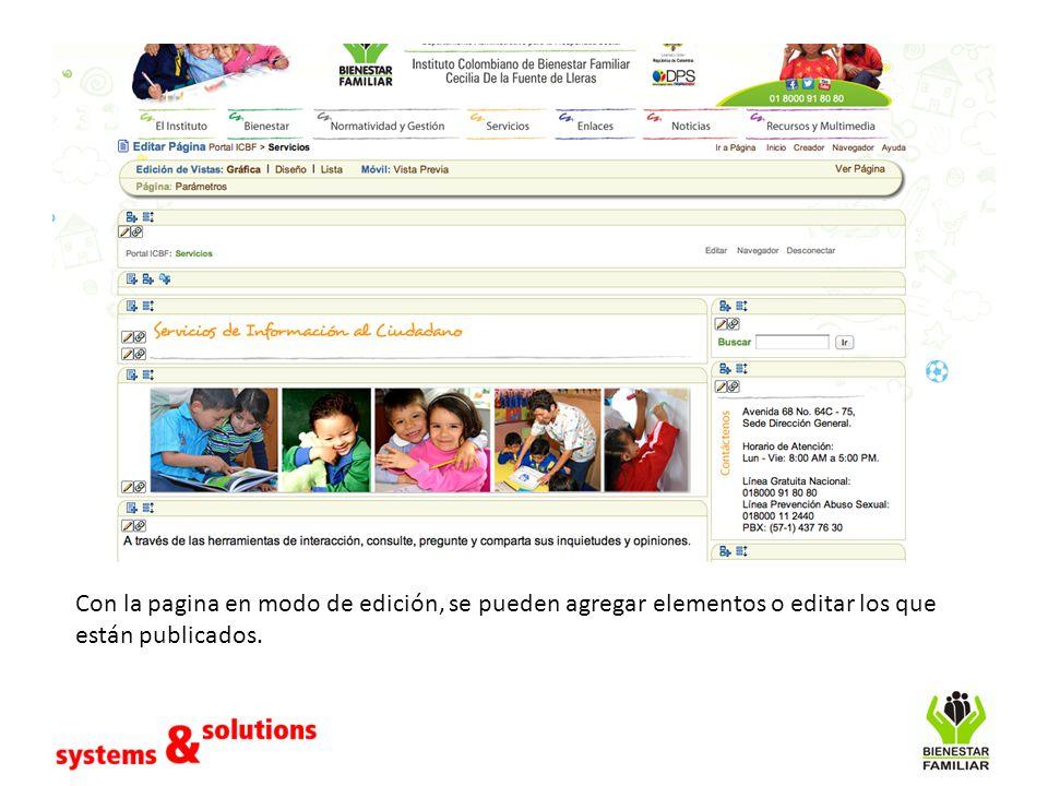 Con la pagina en modo de edición, se pueden agregar elementos o editar los que están publicados.