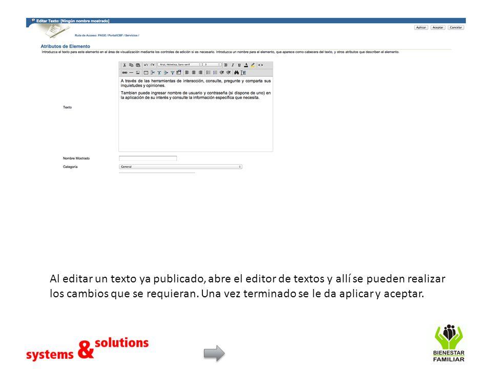 Al editar un texto ya publicado, abre el editor de textos y allí se pueden realizar los cambios que se requieran.