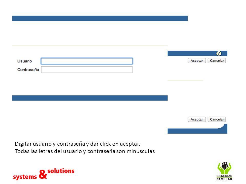 Digitar usuario y contraseña y dar click en aceptar.
