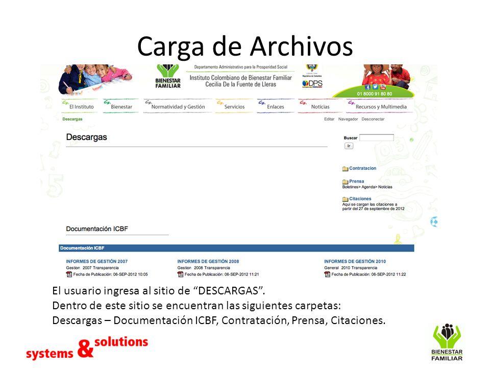 Carga de Archivos El usuario ingresa al sitio de DESCARGAS .