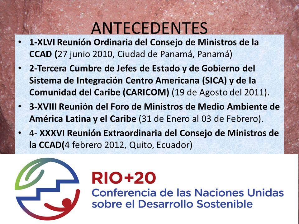 ANTECEDENTES 1-XLVI Reunión Ordinaria del Consejo de Ministros de la CCAD (27 junio 2010, Ciudad de Panamá, Panamá)
