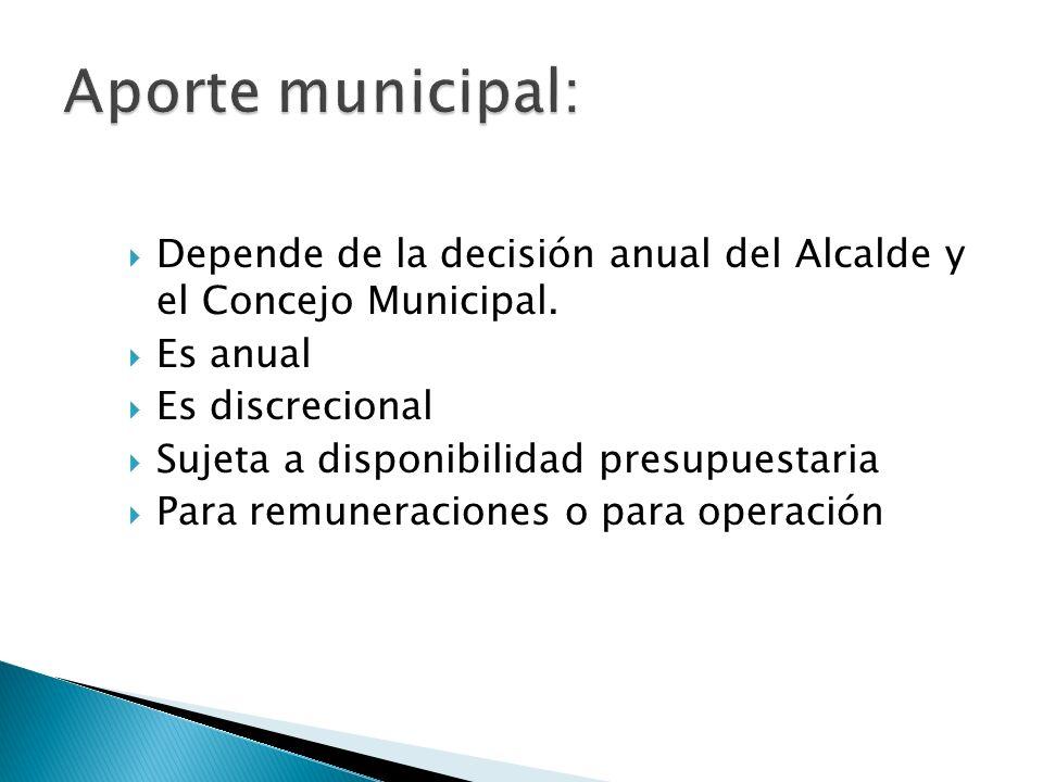 Aporte municipal: Depende de la decisión anual del Alcalde y el Concejo Municipal. Es anual. Es discrecional.