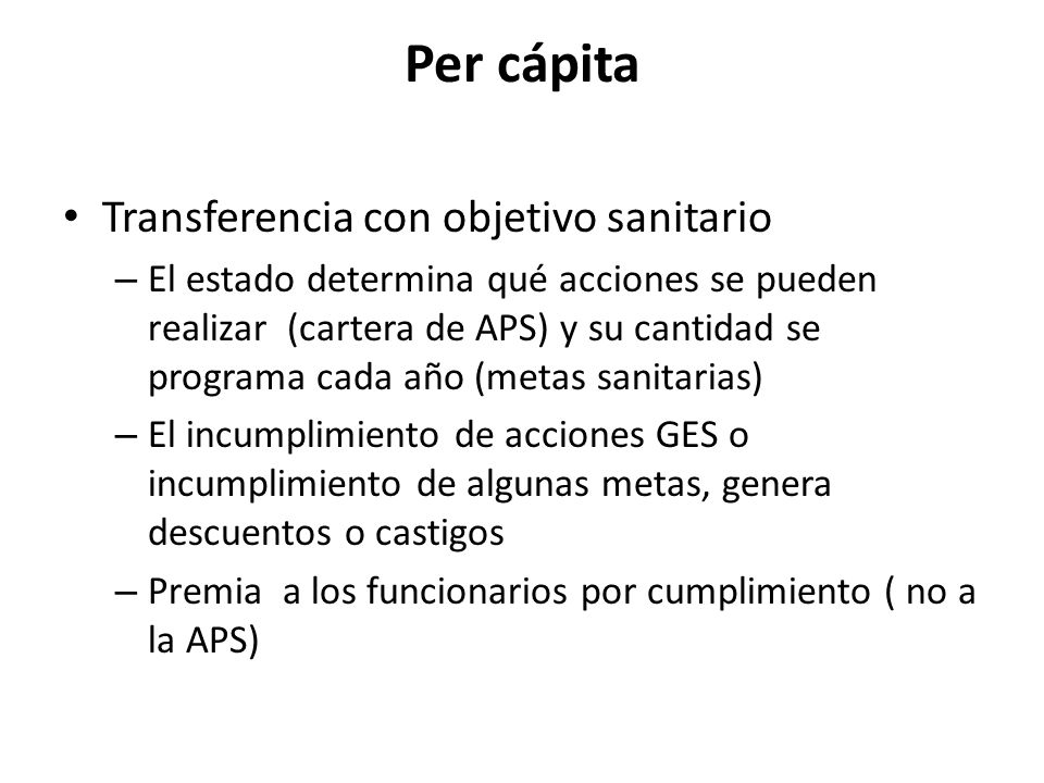 Per cápita Transferencia con objetivo sanitario