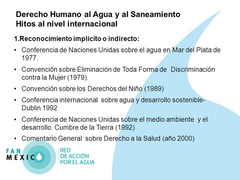 Derecho Humano al Agua y al Saneamiento Hitos al nivel internacional