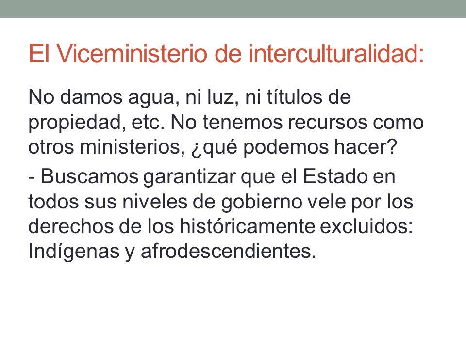El Viceministerio de interculturalidad: