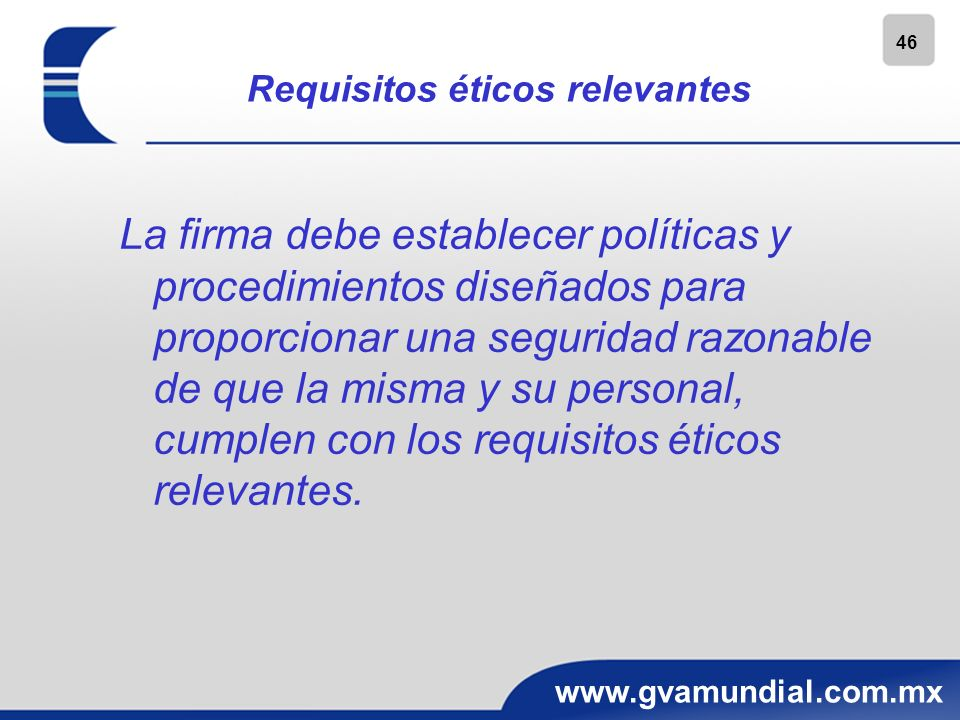 Requisitos éticos relevantes