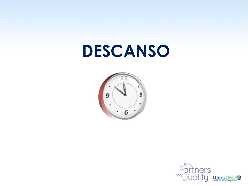 DESCANSO 15 Minute Break – ask participants to please return in 15 minutes.