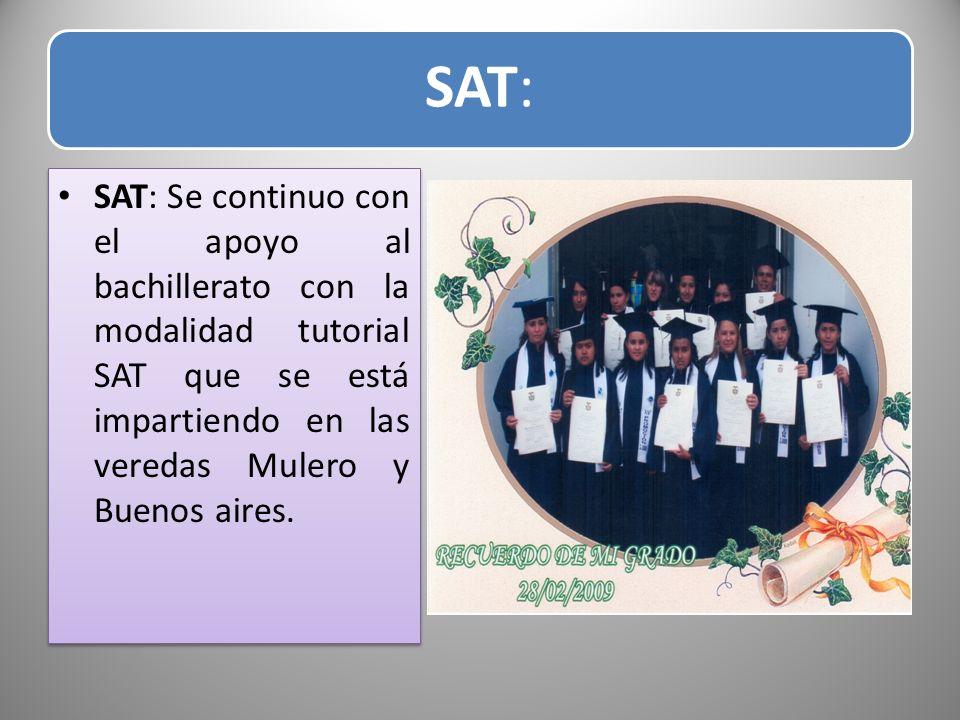 SAT: SAT: Se continuo con el apoyo al bachillerato con la modalidad tutorial SAT que se está impartiendo en las veredas Mulero y Buenos aires.