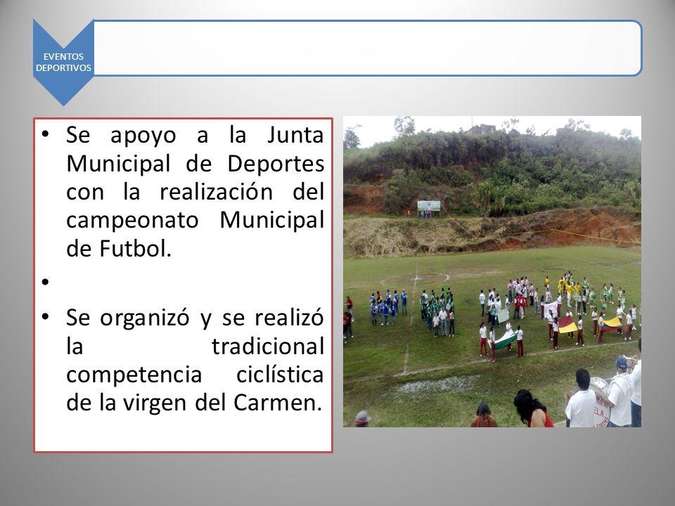 EVENTOS DEPORTIVOS Se apoyo a la Junta Municipal de Deportes con la realización del campeonato Municipal de Futbol.