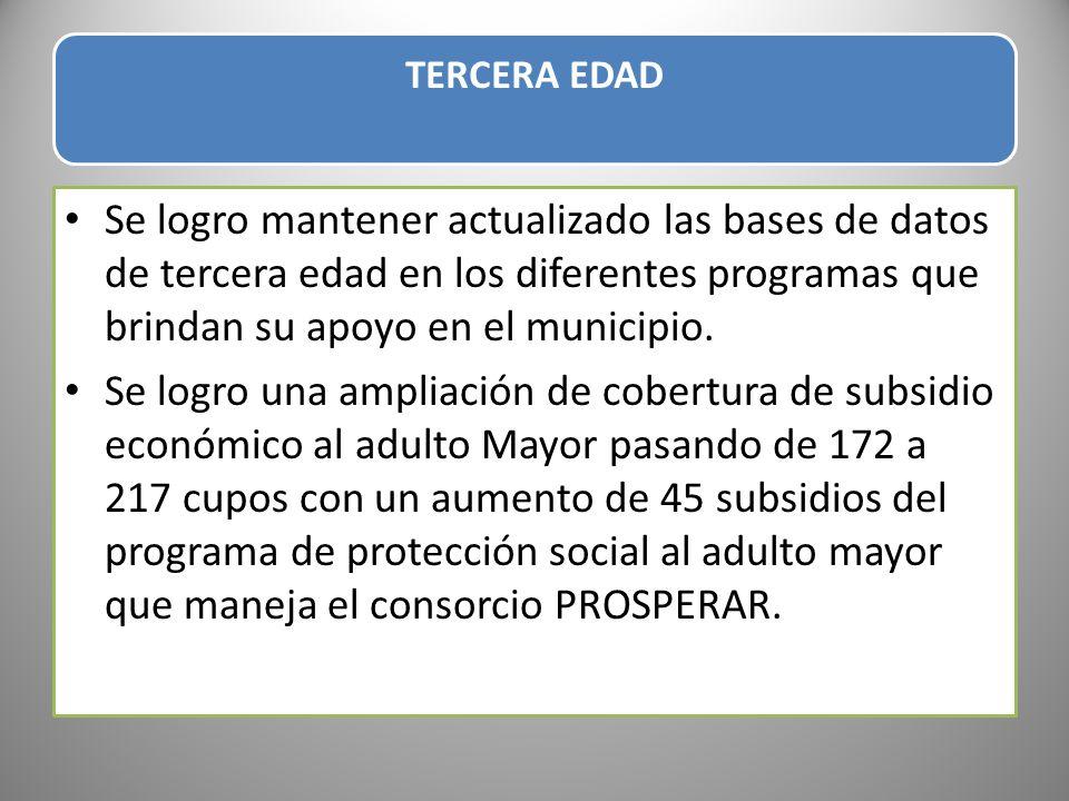 TERCERA EDAD Se logro mantener actualizado las bases de datos de tercera edad en los diferentes programas que brindan su apoyo en el municipio.