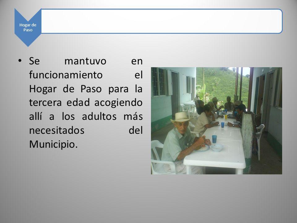 Hogar de Paso Se mantuvo en funcionamiento el Hogar de Paso para la tercera edad acogiendo allí a los adultos más necesitados del Municipio.