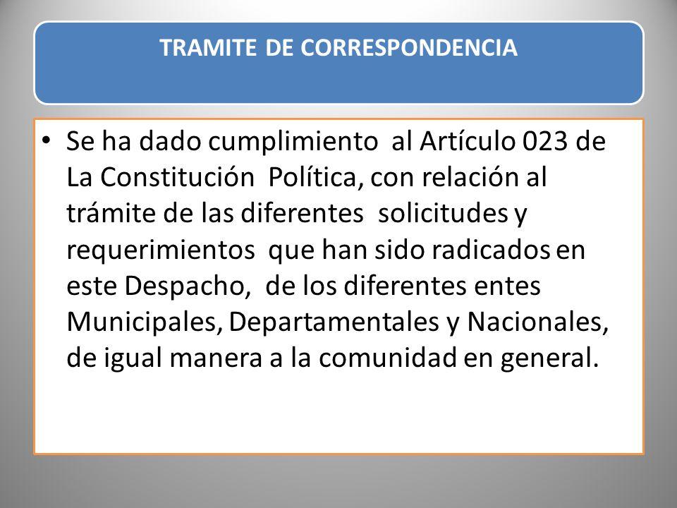 TRAMITE DE CORRESPONDENCIA