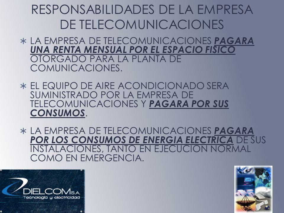 RESPONSABILIDADES DE LA EMPRESA DE TELECOMUNICACIONES