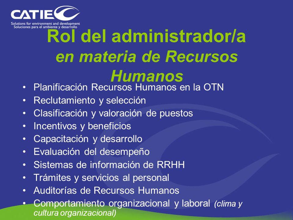 Rol del administrador/a en materia de Recursos Humanos