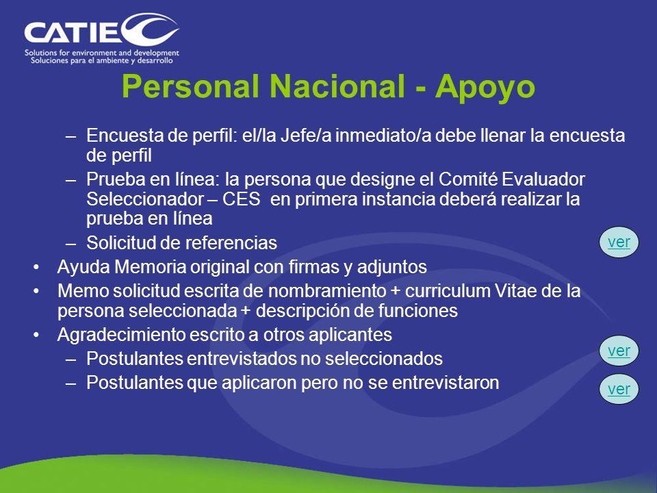 Personal Nacional - Apoyo