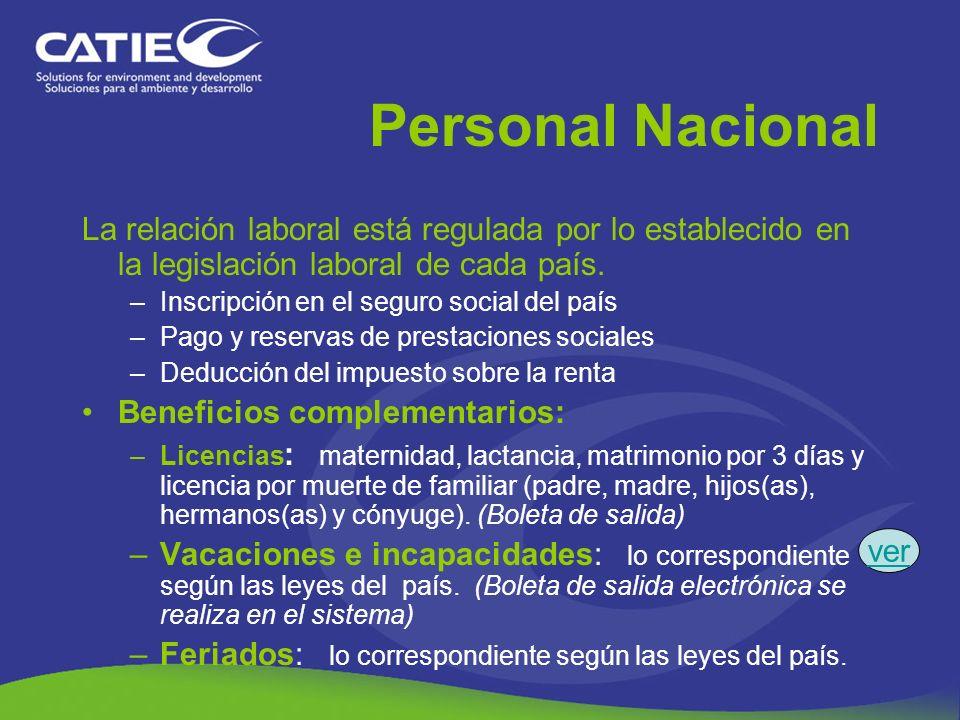 Personal NacionalLa relación laboral está regulada por lo establecido en la legislación laboral de cada país.