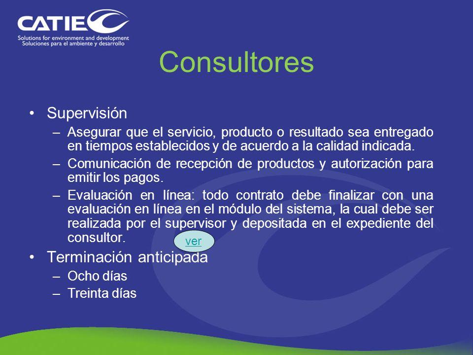 Consultores Supervisión Terminación anticipada